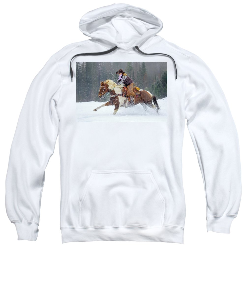Horse Sweatshirt featuring the photograph Dashing Through The Snow by Jack Bell
