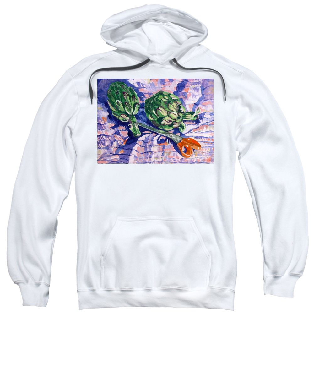 Greens Sweatshirt featuring the painting Edible Flowers by Jan Bennicoff