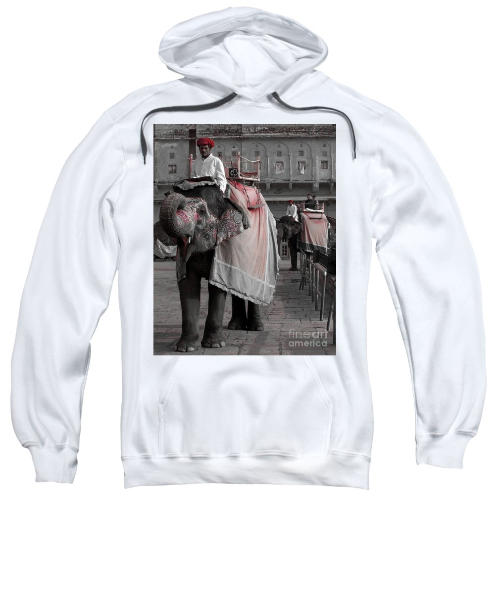 Elephant Sweatshirt featuring the photograph Elephant At Amber Fort by Sonal Dave