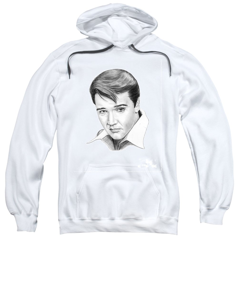 Portrait Sweatshirt featuring the drawing Elvis Presley by Murphy Elliott