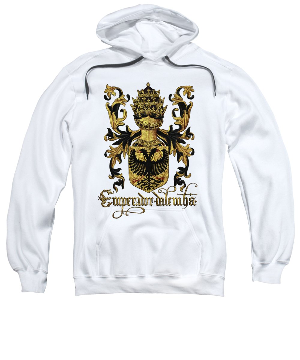 'roll Of Arms� Collection By Serge Averbukh Sweatshirt featuring the photograph Emperor Of Germany Coat Of Arms - Livro Do Armeiro-mor by Serge Averbukh