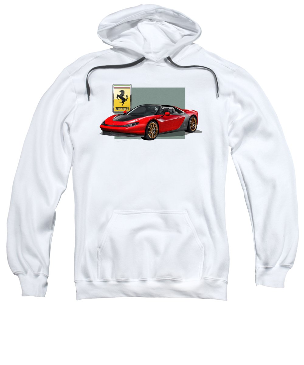 �ferrari� Collection By Serge Averbukh Sweatshirt featuring the photograph Ferrari Sergio With 3d Badge by Serge Averbukh