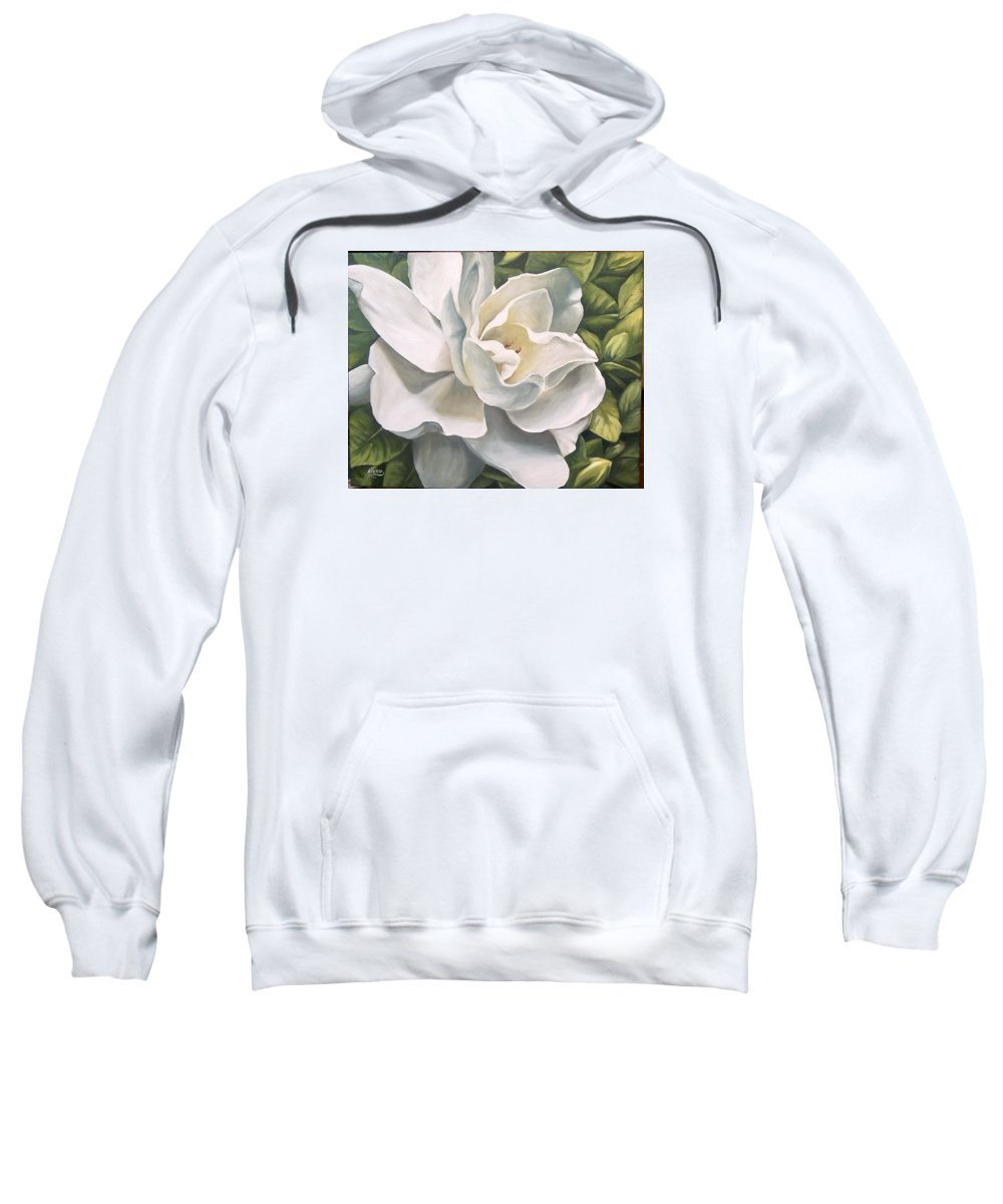 Flower Sweatshirt featuring the painting Gardenia by Natalia Tejera