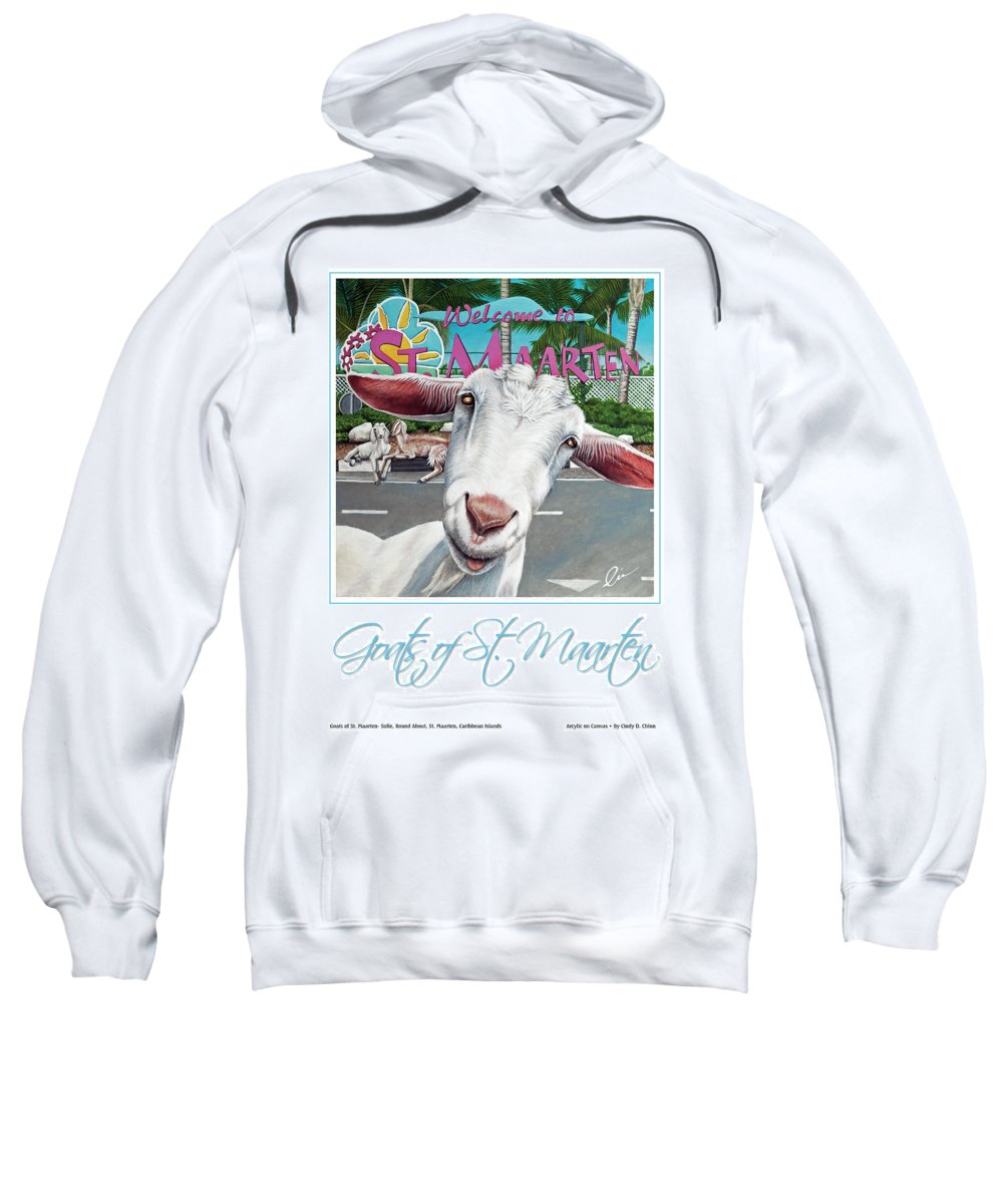 Sweatshirt featuring the painting Goats Of St. Maarten- Sofie by Cindy D Chinn