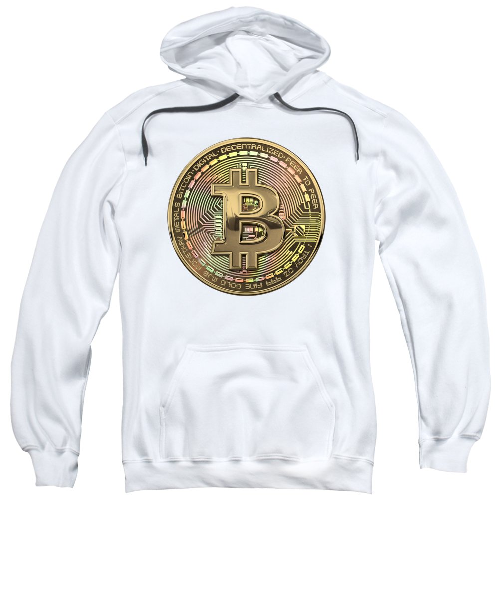'money' Collection By Serge Averbukh Sweatshirt featuring the photograph Gold Bitcoin Effigy Over White Leather by Serge Averbukh