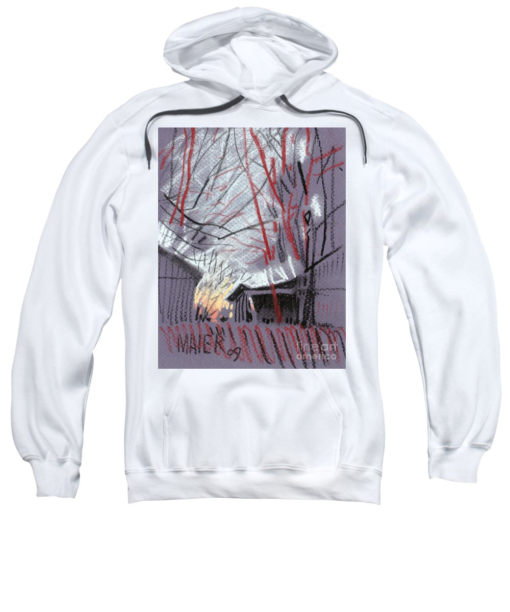 Pastel Sweatshirt featuring the drawing Grey Evening by Donald Maier