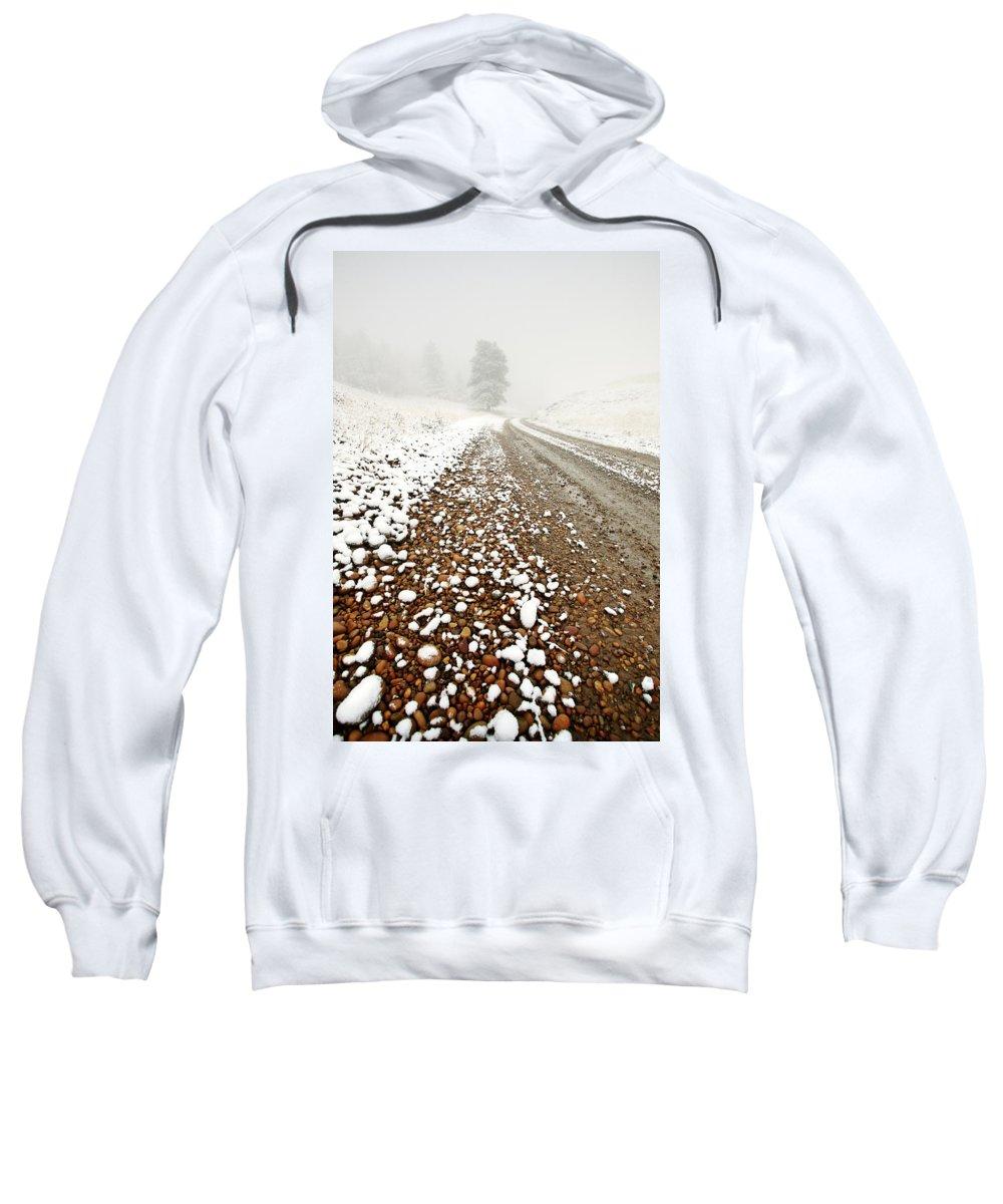 Ice Fog Sweatshirt featuring the digital art Ice Fog In Cypress Hills Provincial Park Of Saskatchewan by Mark Duffy