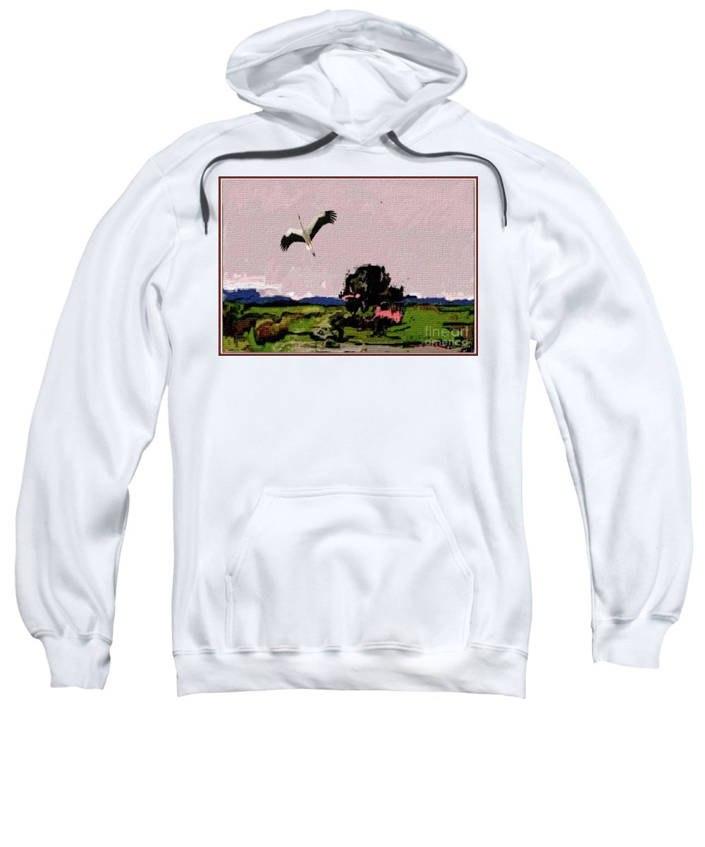 Modern Painting Sweatshirt featuring the mixed media In The Field 29 by Pemaro
