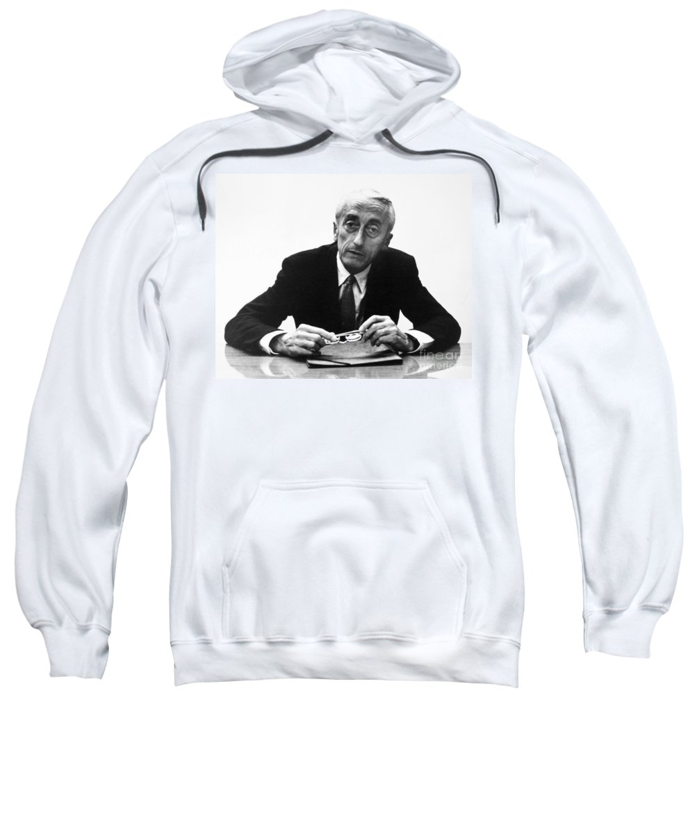 1974 Sweatshirt featuring the painting Jacques Cousteau (1910-1997) by Granger