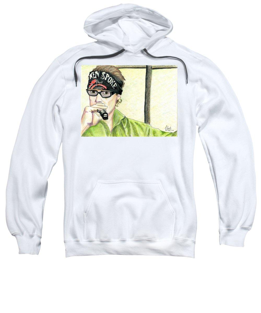 Jay Allen Sweatshirt featuring the painting Jay Allen At The Broken Spoke Saloon by Albert Puskaric