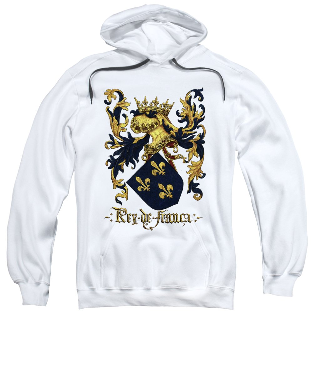 'roll Of Arms� Collection By Serge Averbukh Sweatshirt featuring the photograph King Of France Coat Of Arms - Livro Do Armeiro-mor by Serge Averbukh