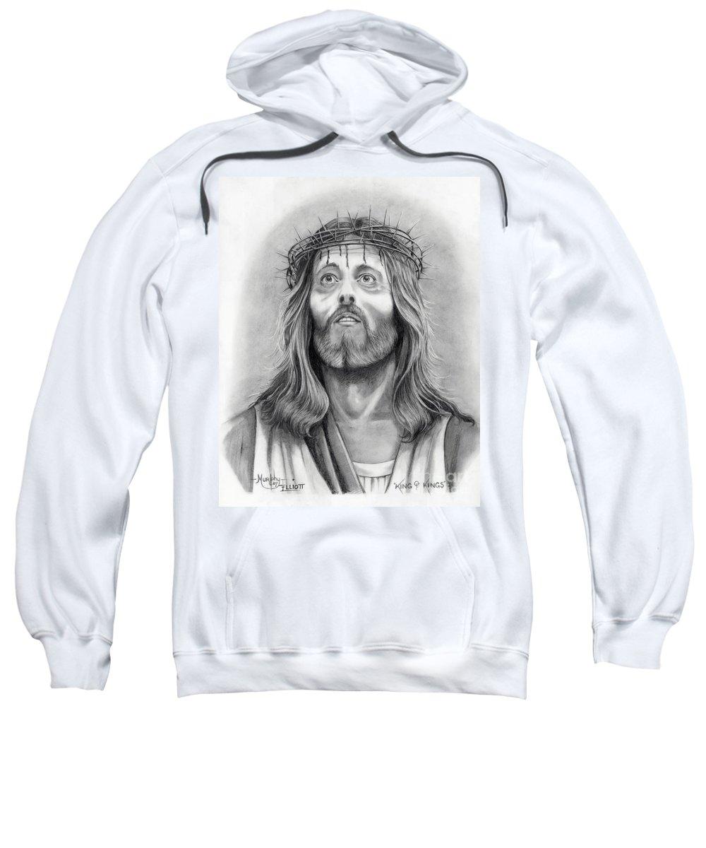 Jesus Christ Sweatshirt featuring the drawing King Of Kings by Murphy Elliott