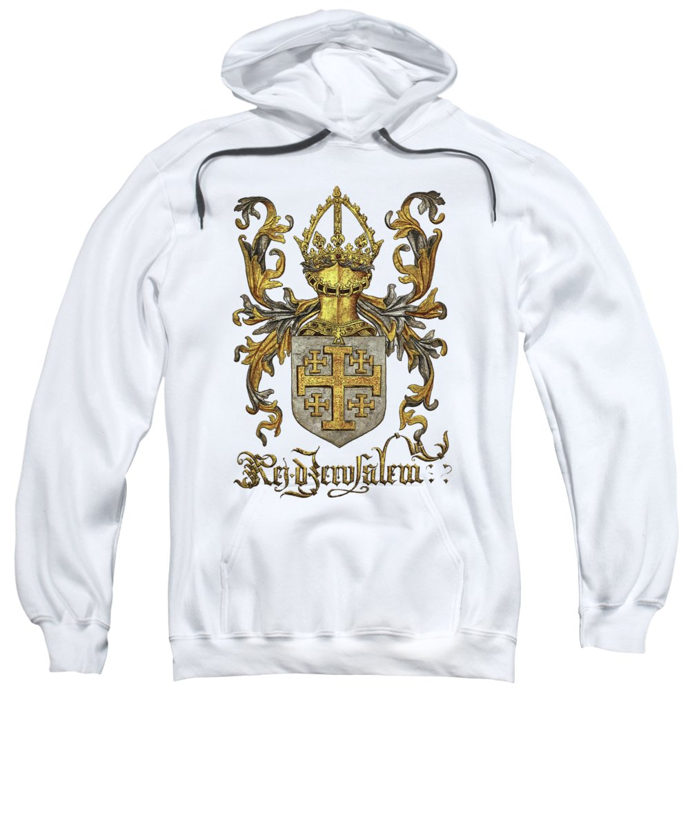 'roll Of Arms� Collection By Serge Averbukh Sweatshirt featuring the photograph Kingdom Of Jerusalem Coat Of Arms - Livro Do Armeiro-mor by Serge Averbukh