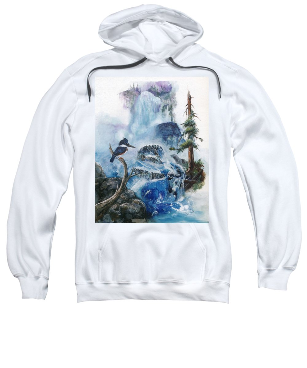 Kingfisher Sweatshirt featuring the painting Kingfisher's Realm by Sherry Shipley