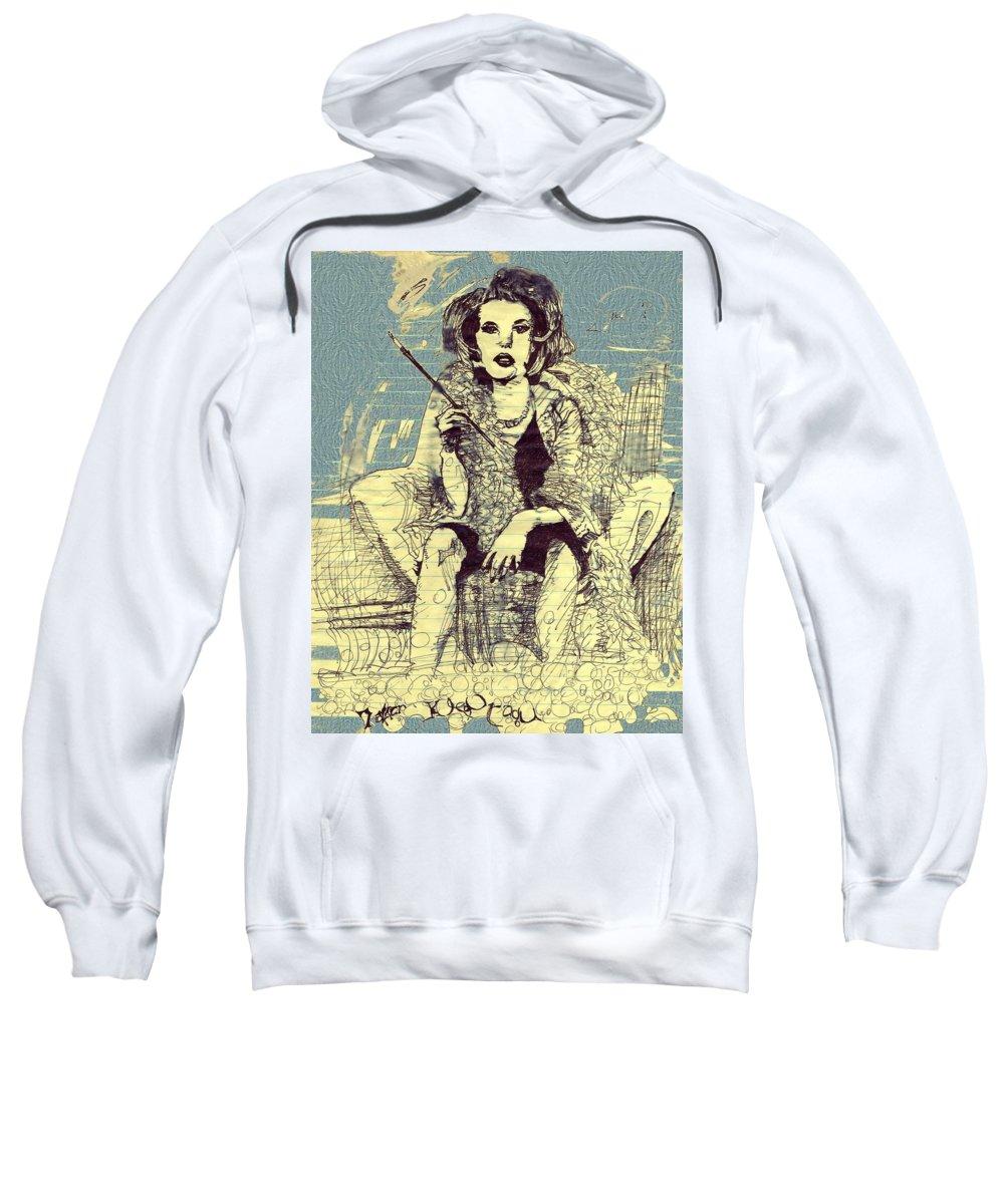 Style Sweatshirt featuring the digital art La Femme Qui Fume Apres Kevin Montague by Contemporary Luxury Fine Art