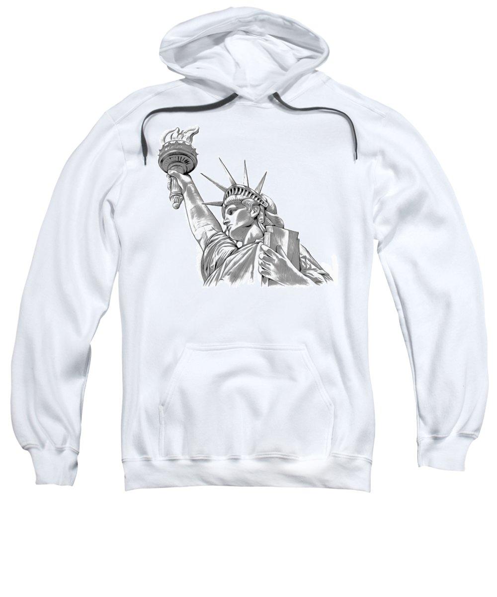 Mixed Media Sweatshirt featuring the digital art Lady Liberty by Greg Joens