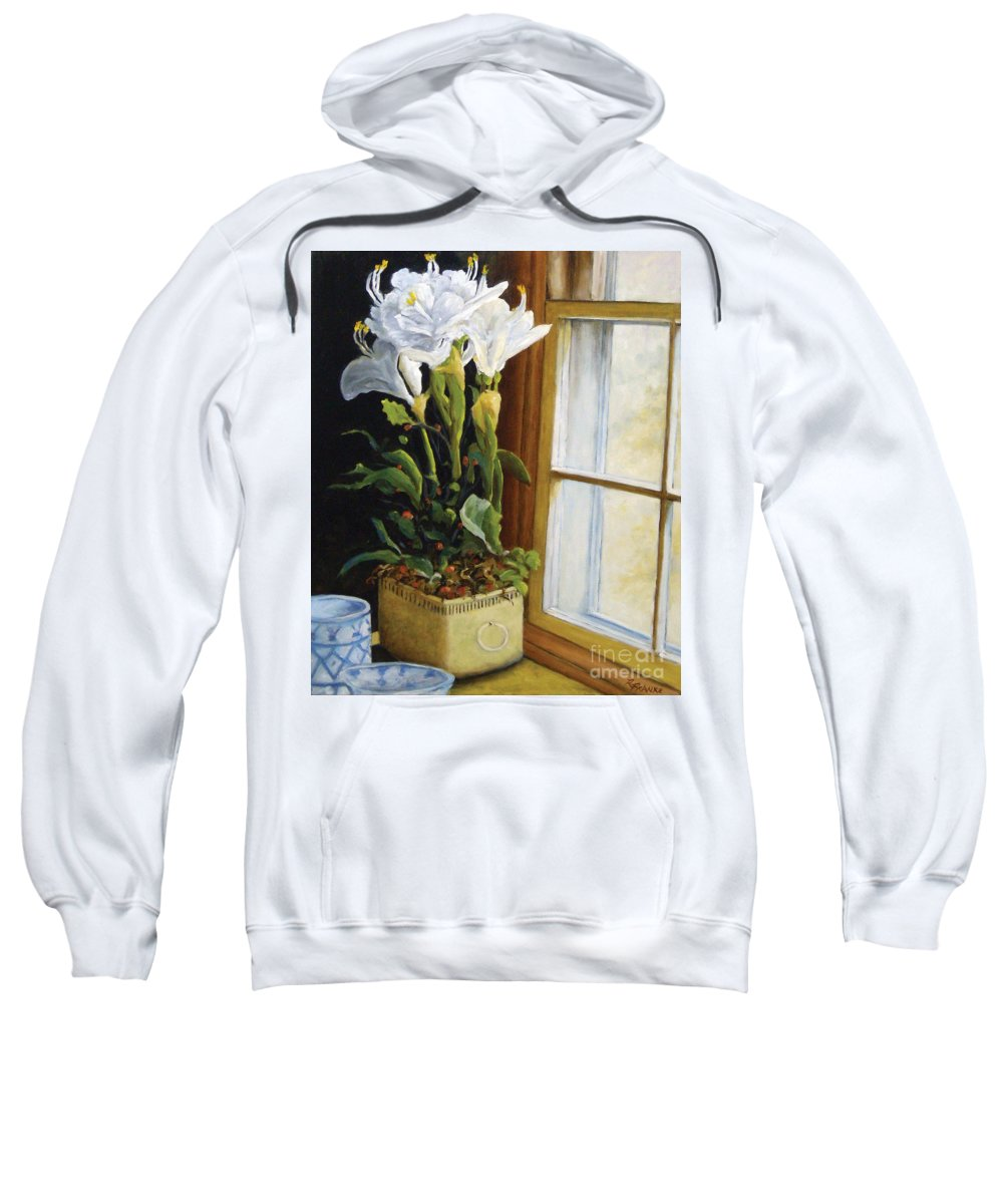 Art Sweatshirt featuring the painting Lillies by Richard T Pranke