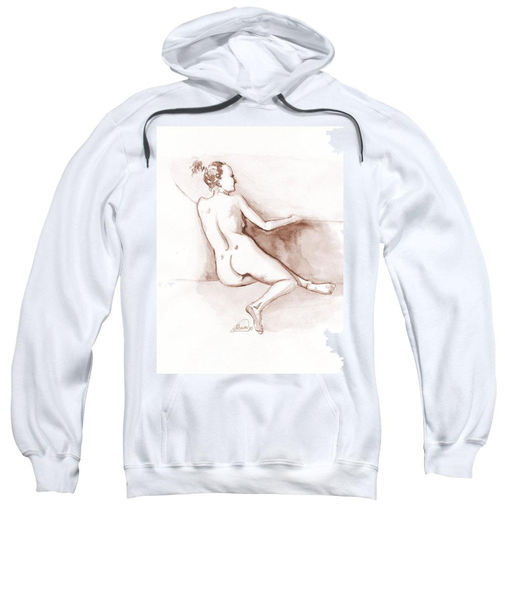 Nude Sweatshirt featuring the painting Live Model Figure  by Alban Dizdari