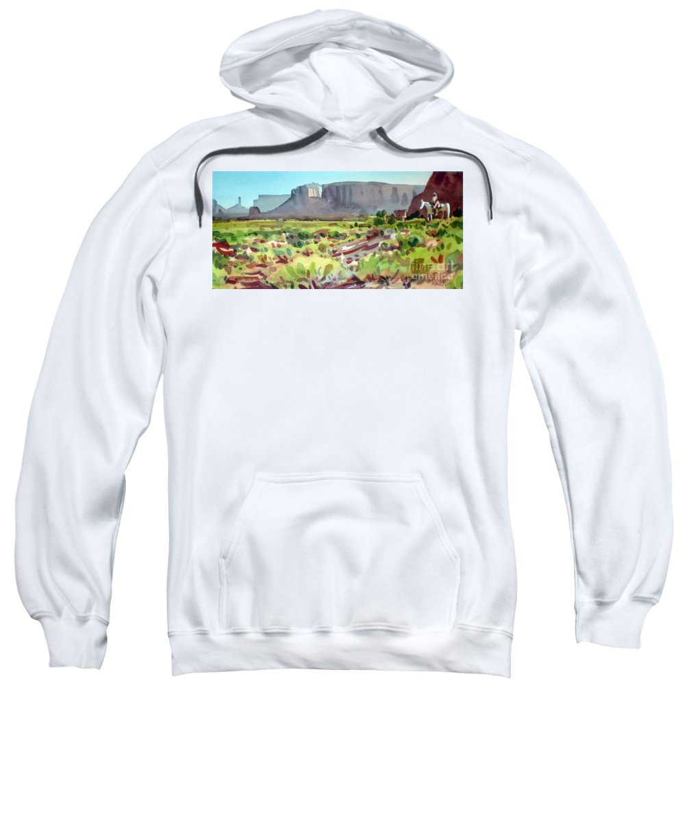 Navajo Sweatshirt featuring the painting Lone Rider by Donald Maier