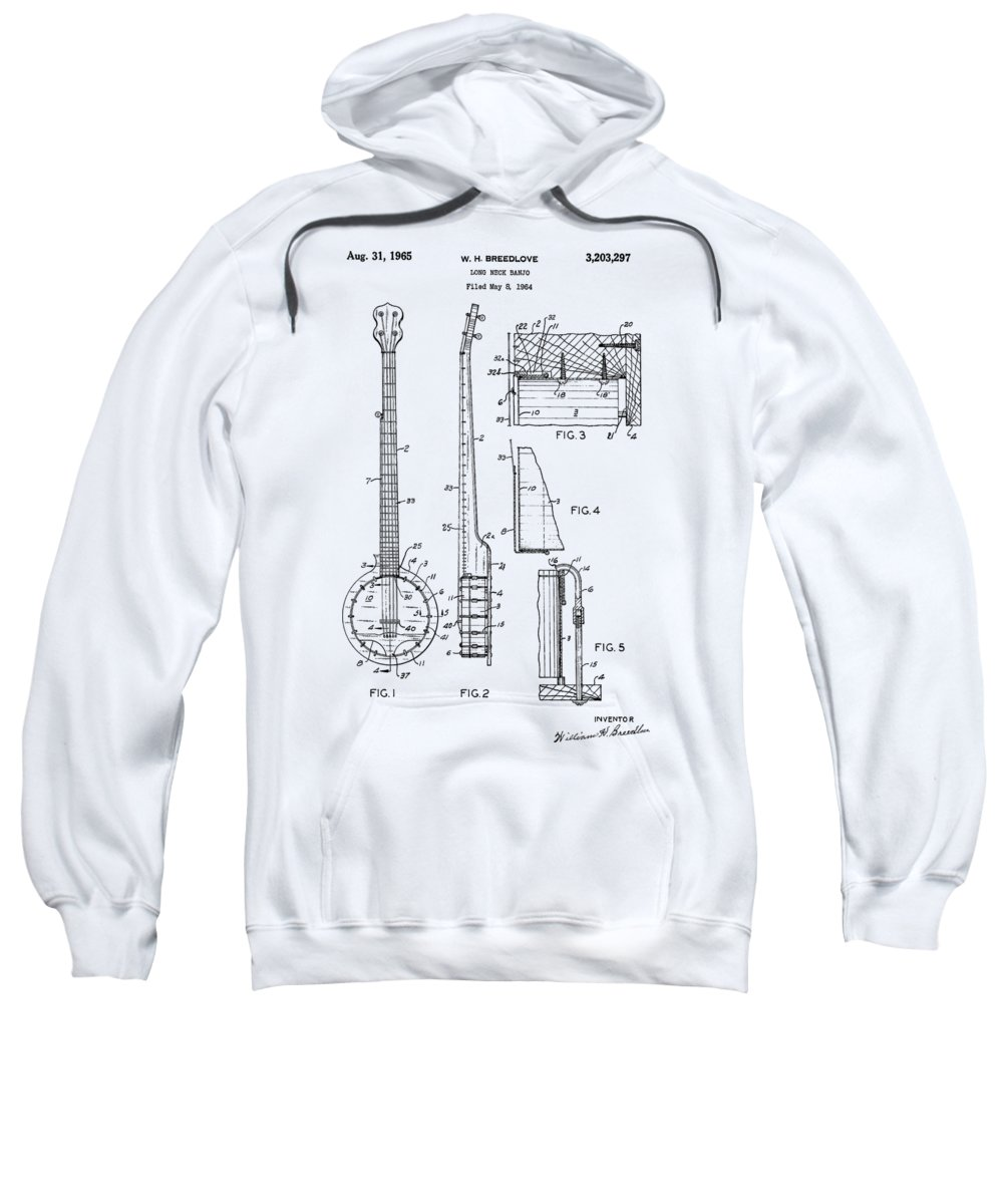 Long Neck Banjo Sweatshirt featuring the photograph Long Neck Banjo Patent From 1964 by Chris Smith