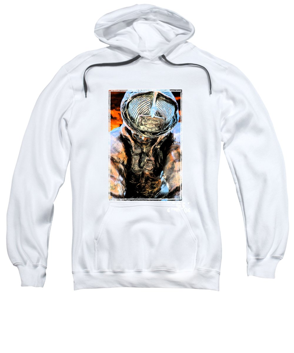 Firefighter Sweatshirt featuring the digital art Memorial To A Hero by Tommy Anderson