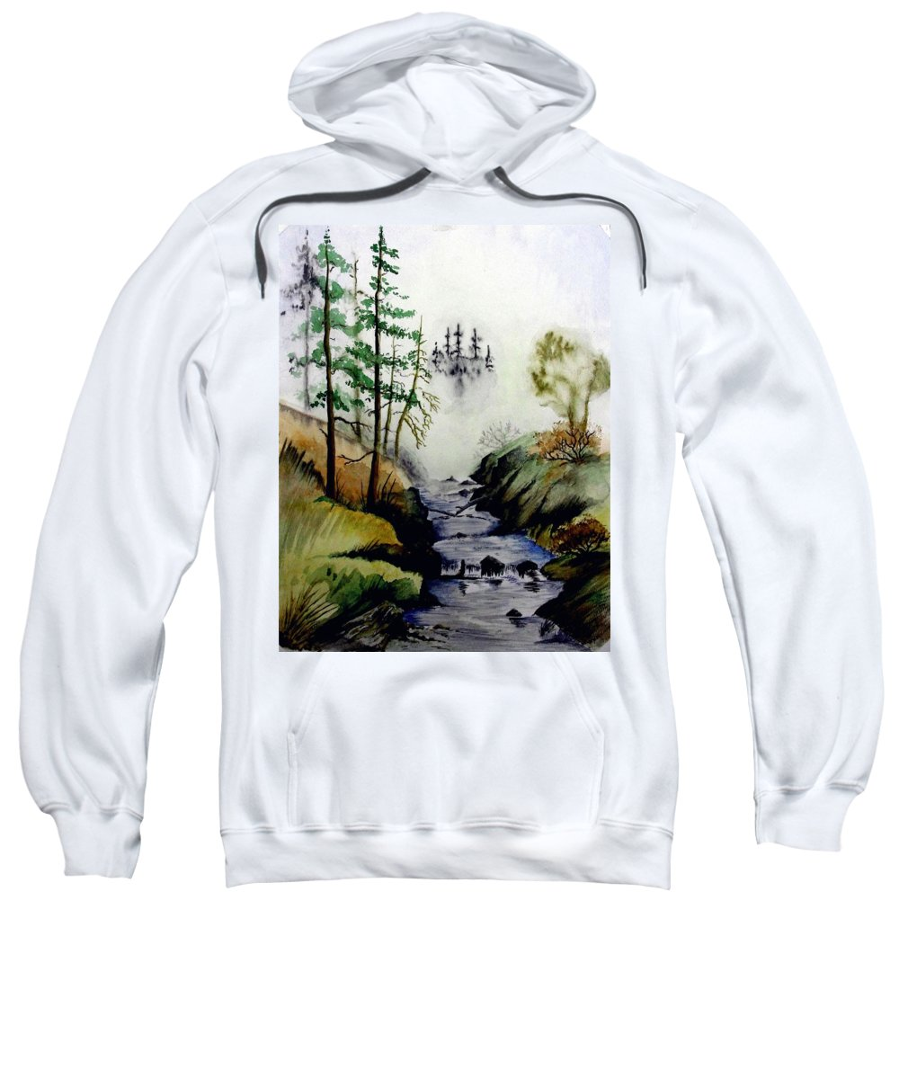Creek Sweatshirt featuring the painting Misty Creek by Jimmy Smith