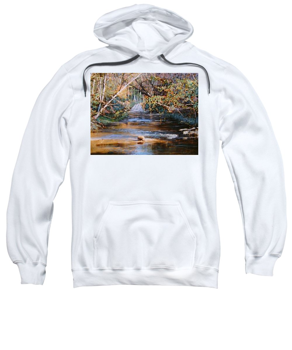 River; Waterfalls Sweatshirt featuring the painting My Secret Place by Ben Kiger