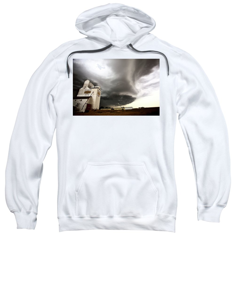 Grain Elevator Sweatshirt featuring the digital art Nasty Looking Cumulonimbus Cloud Behind Grain Elevator by Mark Duffy