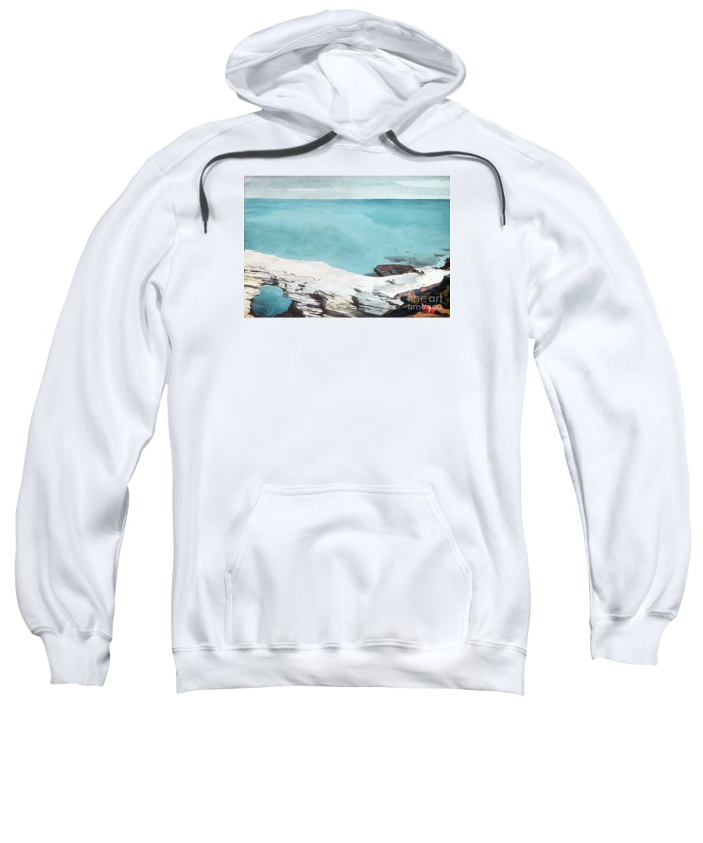 Winslow Homer Sweatshirt featuring the drawing Natural Bridge. Bermuda 2 by Winslow Homer