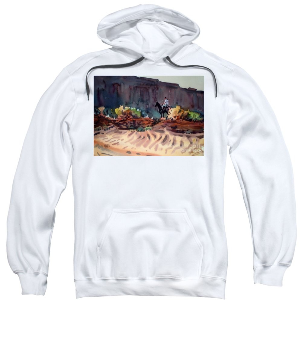 Equestrian Sweatshirt featuring the painting Navajo Rider by Donald Maier