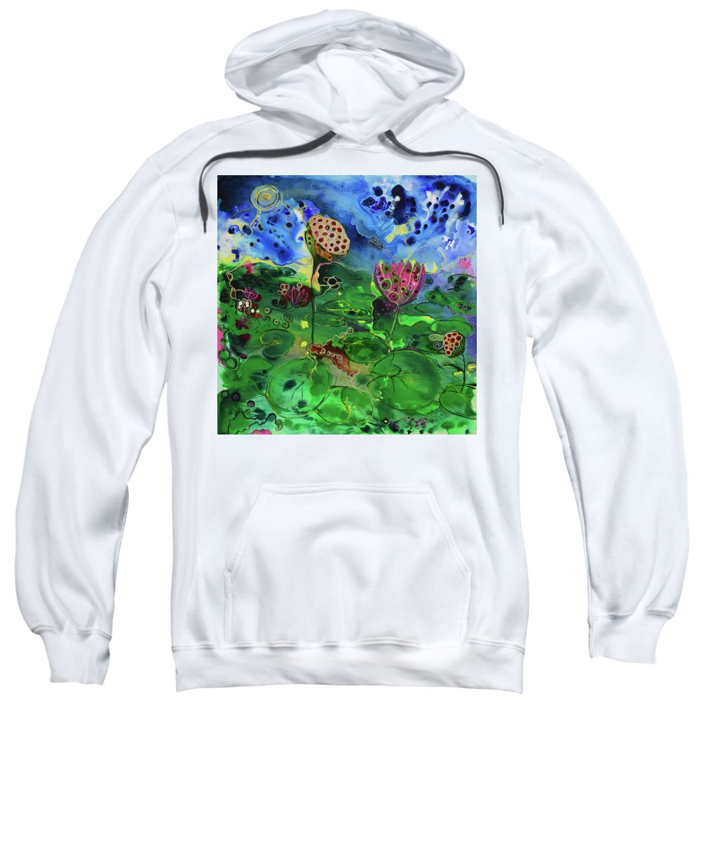 Lily Sweatshirt featuring the painting Lily Pops by Susan Curtin