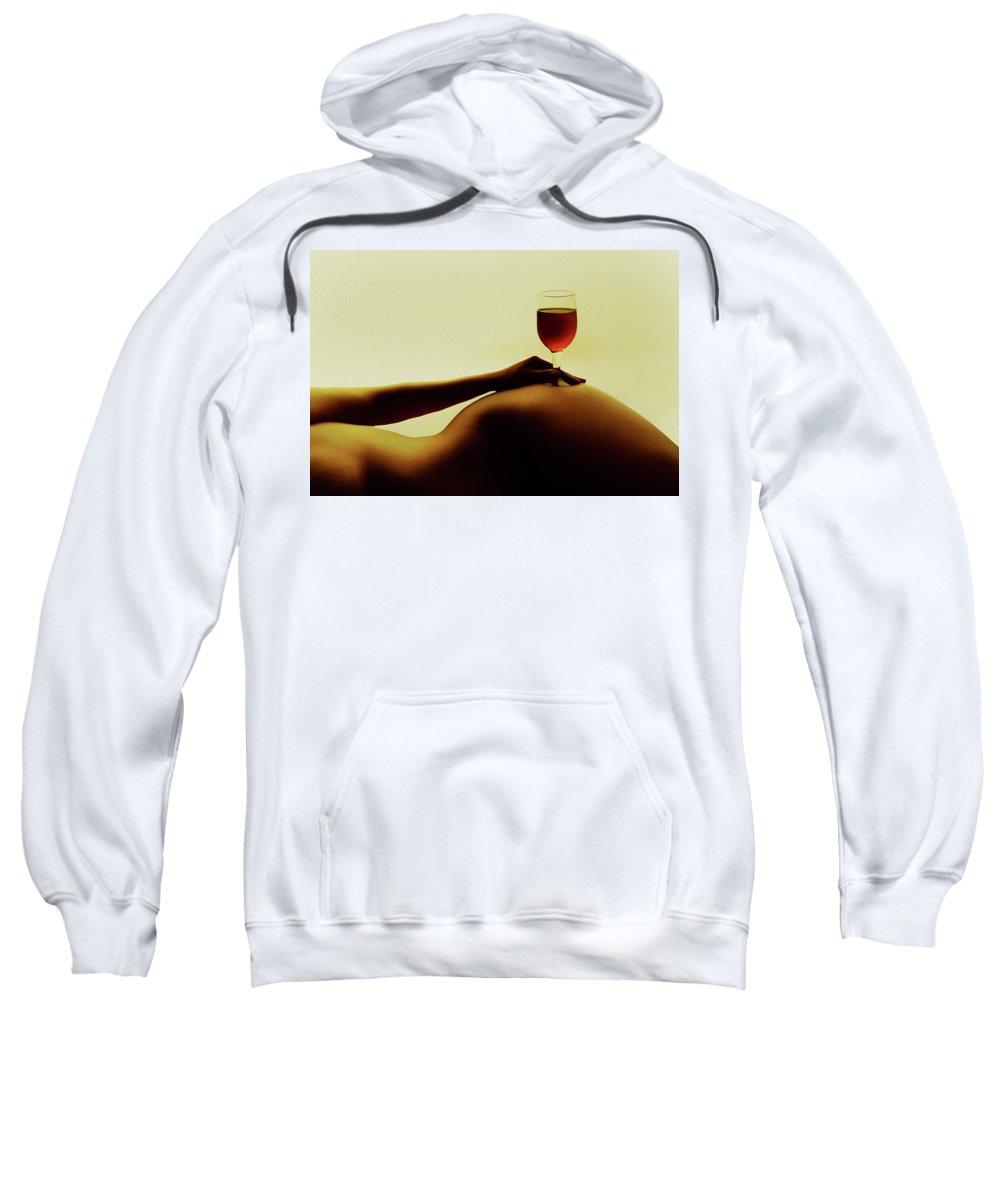 Nude Sweatshirt featuring the painting Nude Wine by Kiran Joshi