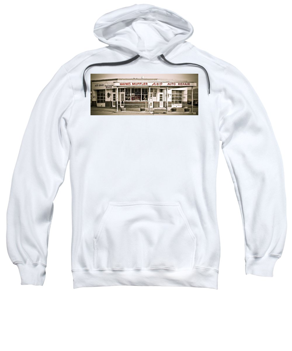 Filling Station Sweatshirt featuring the photograph Old Art Deco Filling Station by Marilyn Hunt