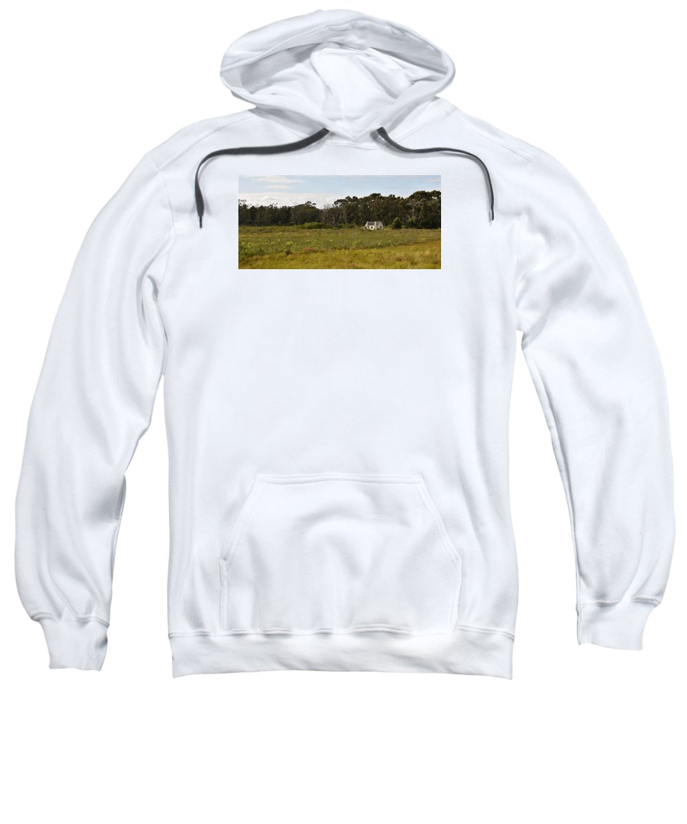 Landscape; Little; Farm House; Old; Overberg; Trees; Western Cape; South Africa; Morning; Farm Land; Grass; Green; Meadow; Lagoon; Water; White; Blue Gum Trees; Eucalyptus Trees; Sweatshirt featuring the photograph old Farm house by Werner Lehmann