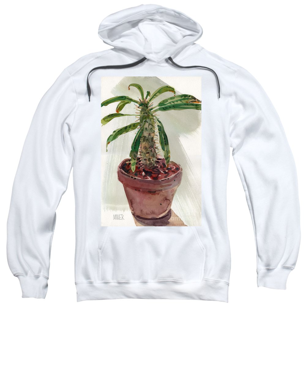Euphorbia Sweatshirt featuring the painting Pachypodium by Donald Maier