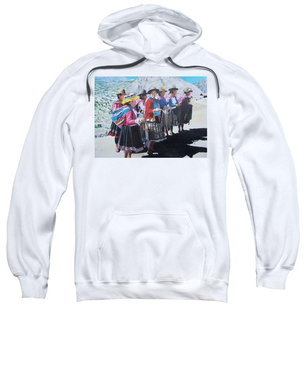 Outdoors Sweatshirt featuring the mixed media Peruvian Ladies by Constance Drescher