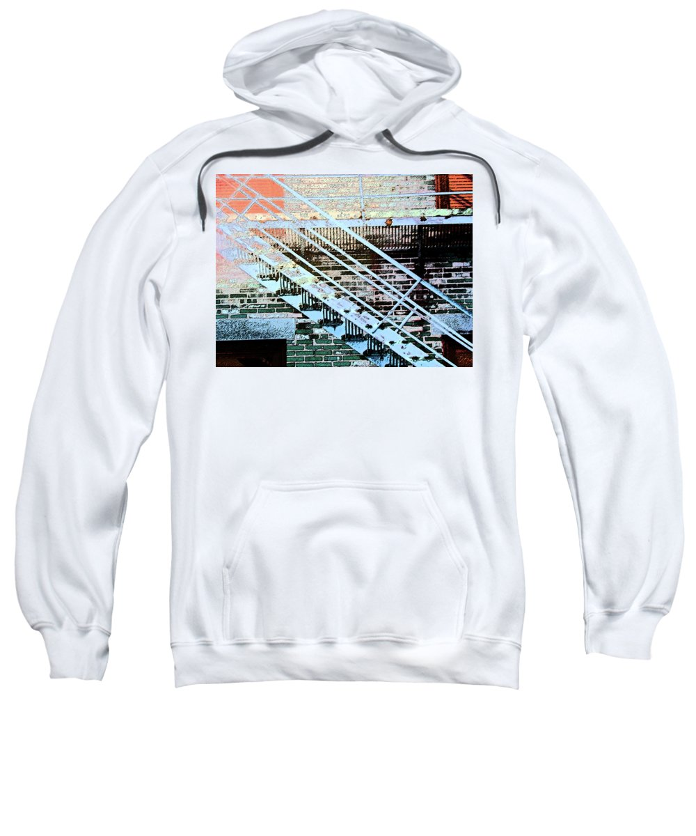 Abstract Sweatshirt featuring the digital art Pueblo Downtown Fire Escape by Lenore Senior