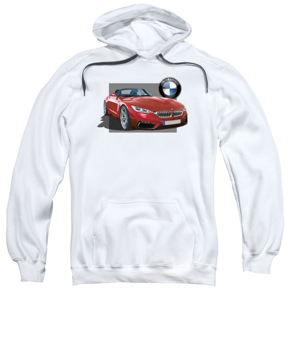 �bmw� Collection By Serge Averbukh Sweatshirt featuring the photograph Red 2018 B M W Z 5 With 3 D Badge by Serge Averbukh