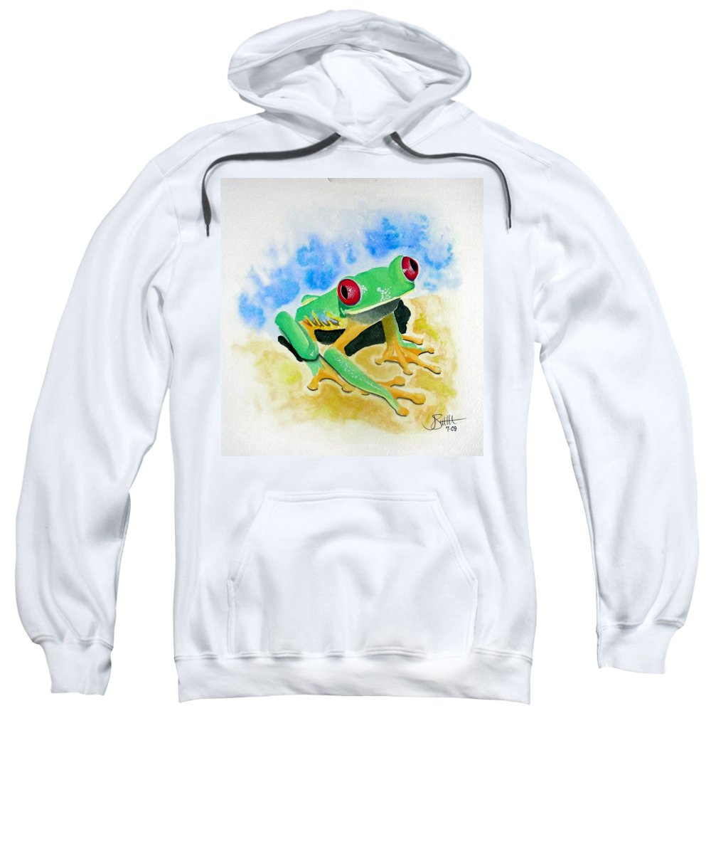 Amphibian Sweatshirt featuring the painting Red Eyed Tree Frog by Jimmy Smith