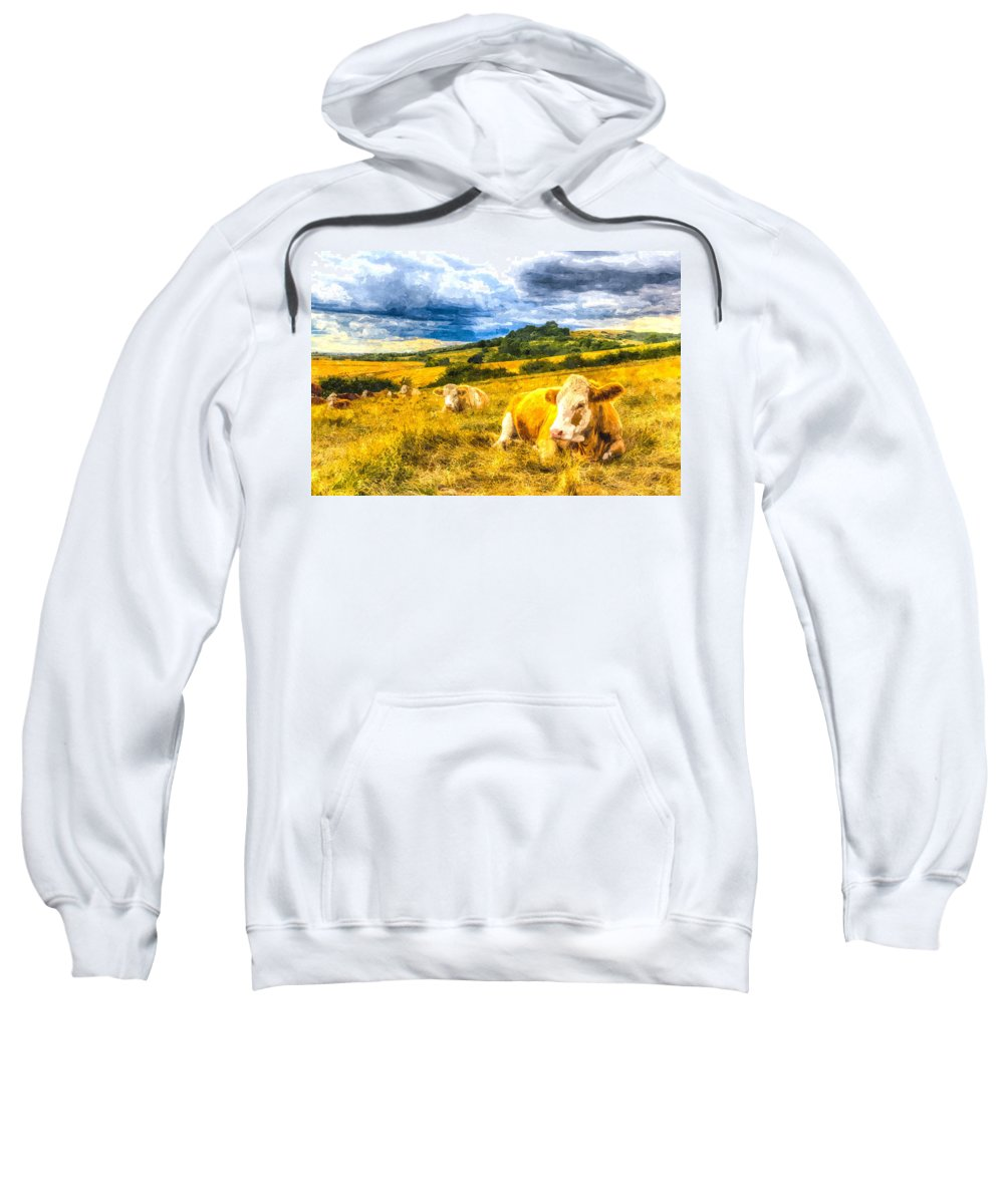 Cows Sweatshirt featuring the photograph Resting Cows Art by David Pyatt