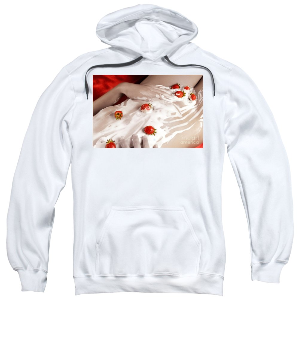Woman Sweatshirt featuring the photograph Sexy Nude Woman Body Covered With Cream And Strawberries by Oleksiy Maksymenko