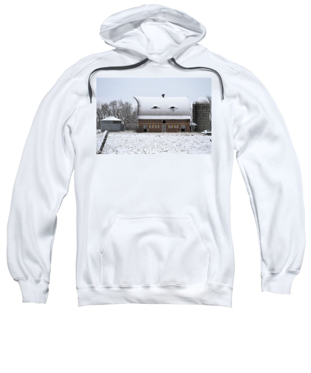 Rustic Sweatshirt featuring the photograph Snow On The Roof by Bonfire Photography