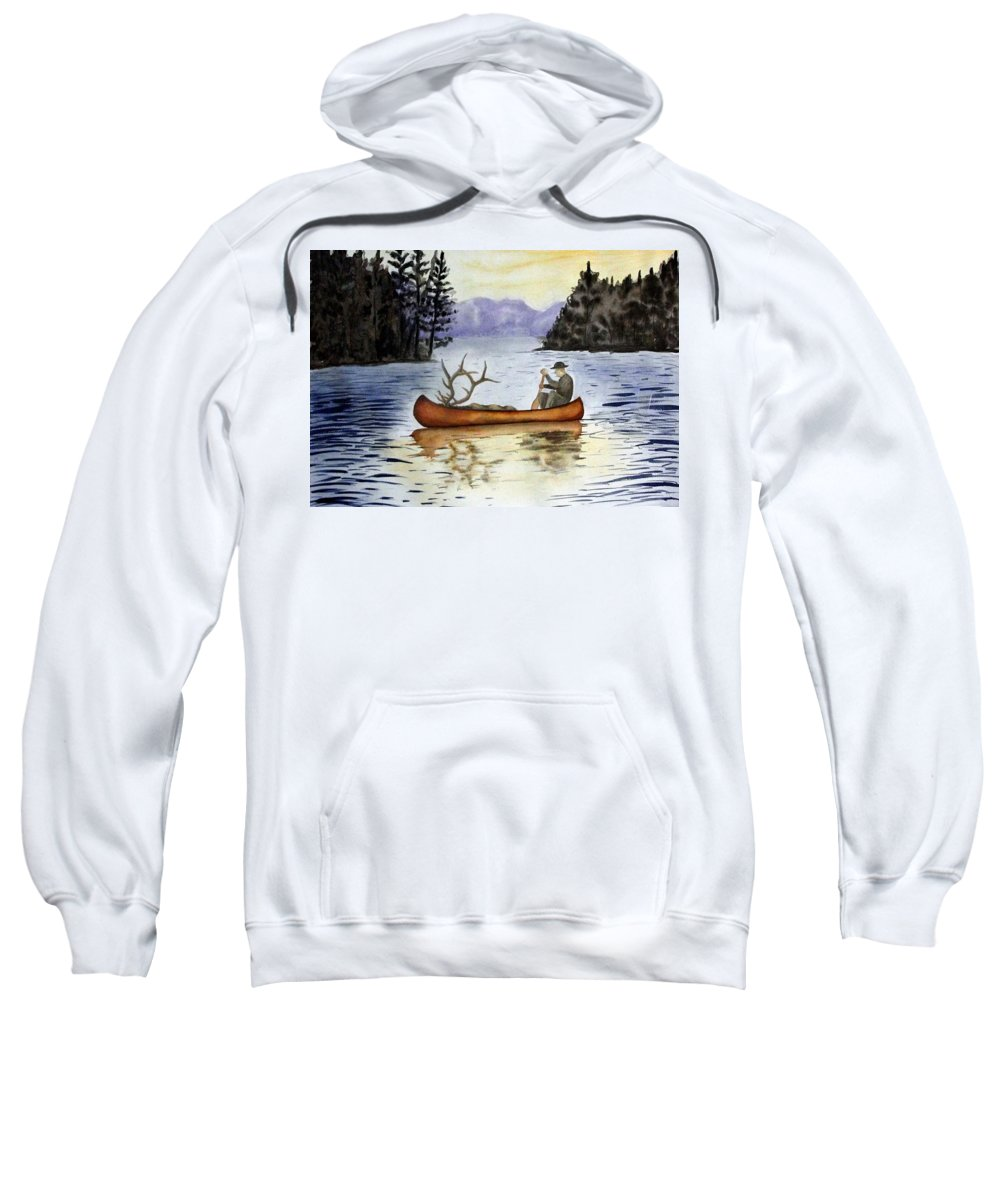 Canoe Sweatshirt featuring the painting Solitude by Jimmy Smith