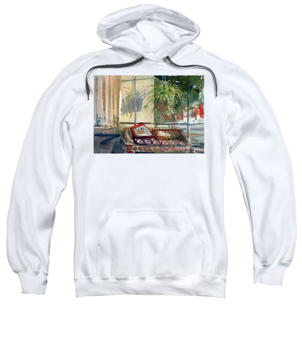 Spider Plant Sweatshirt featuring the painting Spider Plant In The Window by Donald Maier