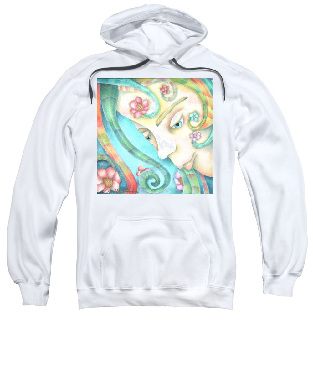 Sweatshirt featuring the painting Sprite Of Giving Hearts by Jeniffer Stapher-Thomas