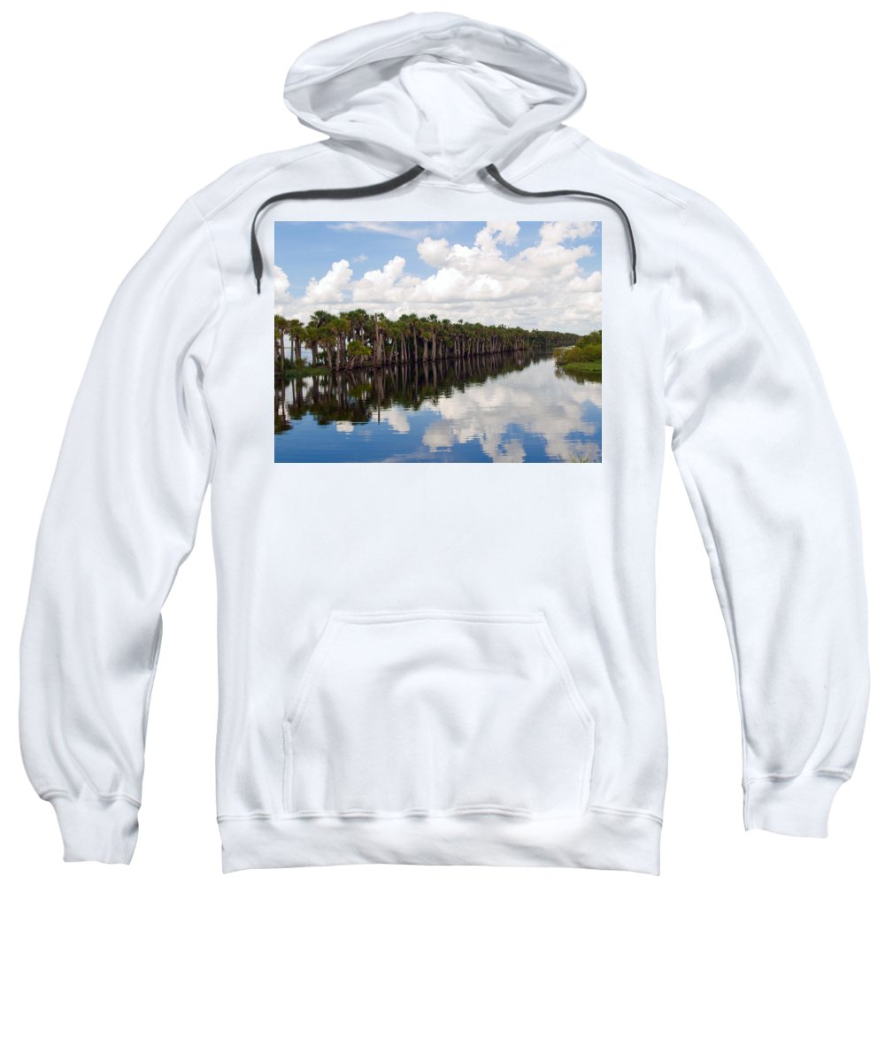 Florida; Water; Canal; Stick; Marsh; Drowned; Trees; Drown; Fellsmere; Sebastian; River; Indian; Clo Sweatshirt featuring the photograph Stick Marsh In Fellsmere Florida by Allan Hughes