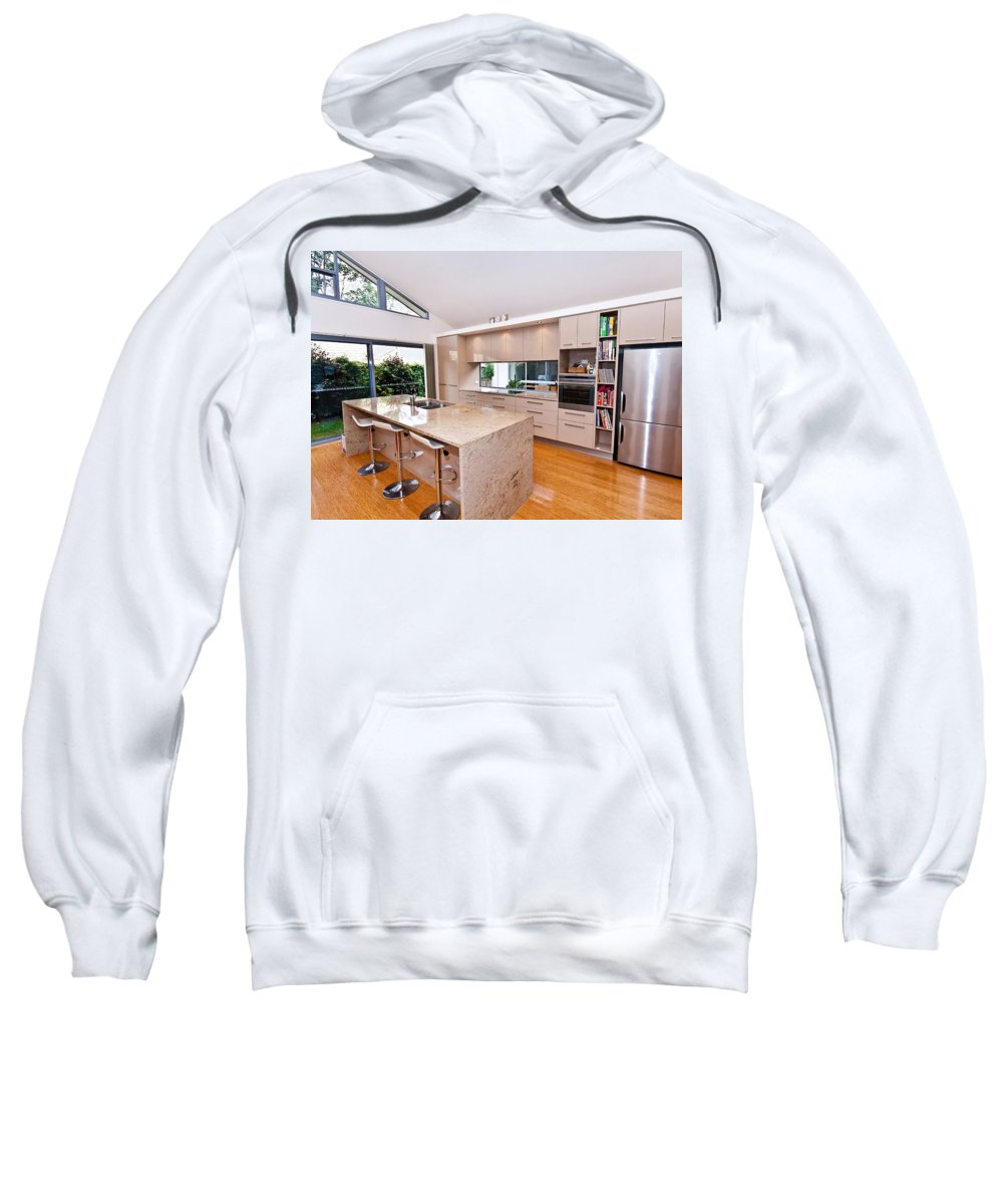 Stylish Sweatshirt featuring the photograph Stylish Modern Kitchen by Darren Burton