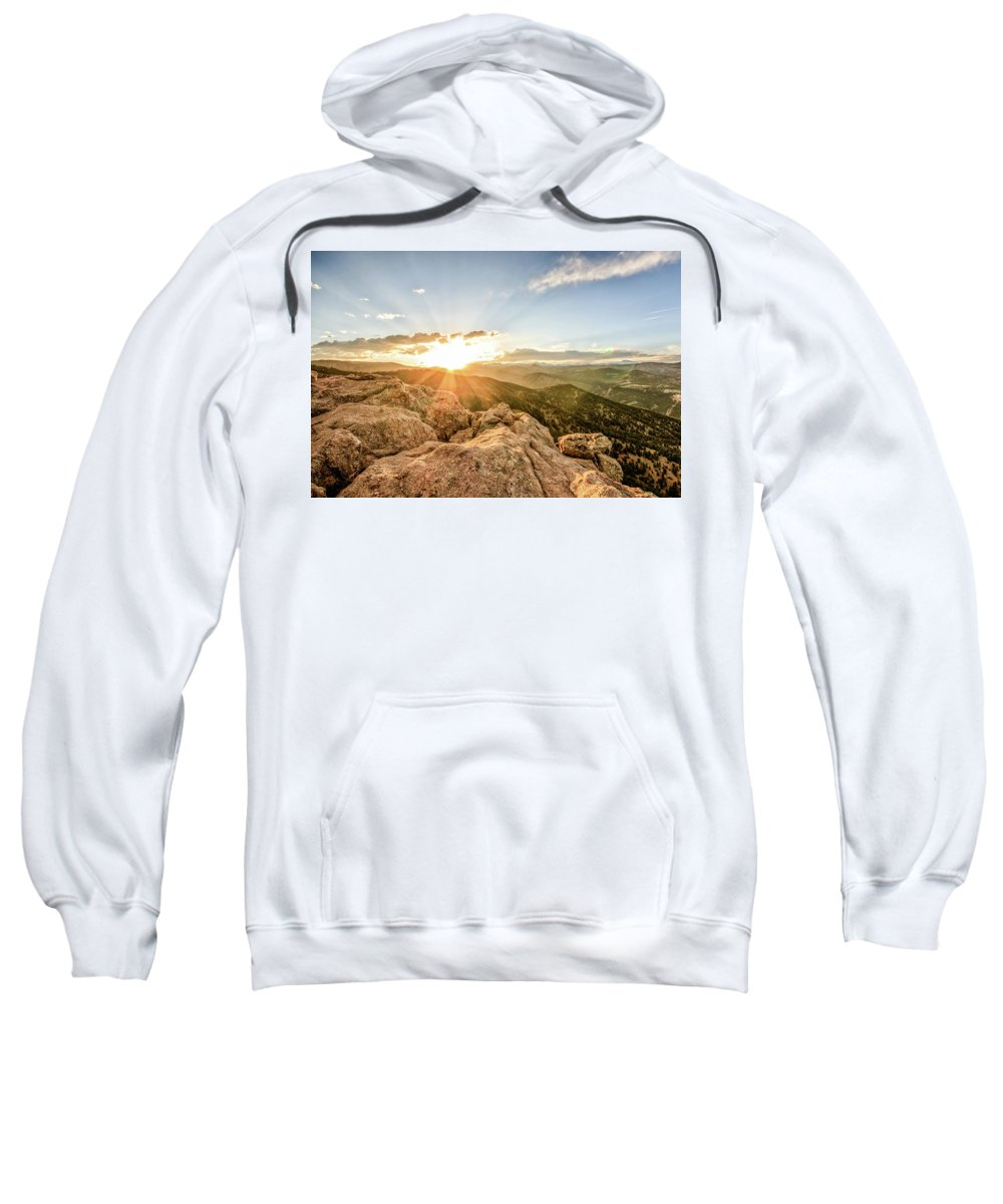Boulder Sweatshirt featuring the photograph Sunset Over The Mountains Of Flaggstaff Road In Boulder, Colorad by Peter Ciro