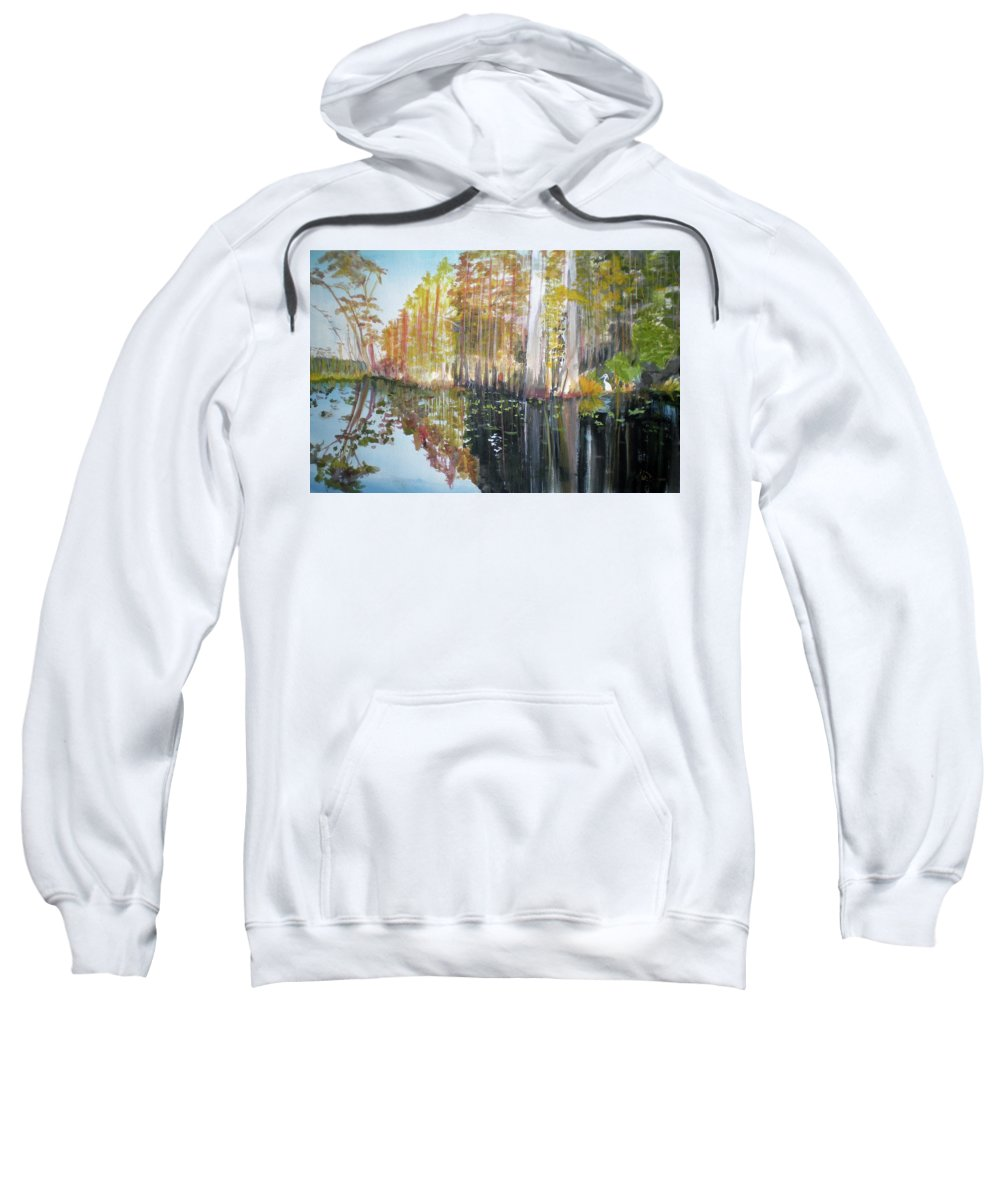 Landscape Of A South Florida Swamp At Dusk Feels Very Wild Sweatshirt featuring the painting Swamp Reflection by Hal Newhouser