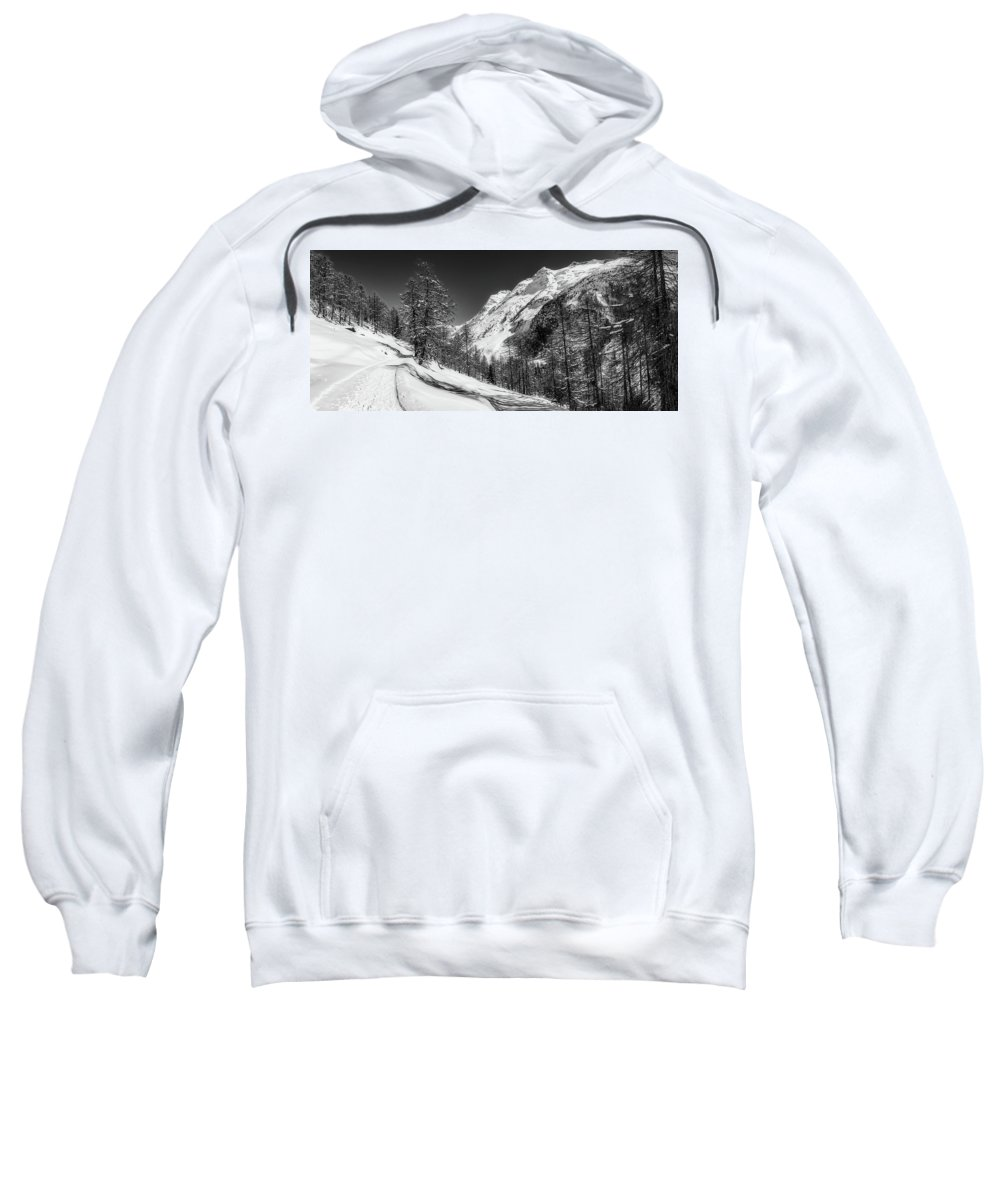 Winter Sweatshirt featuring the photograph Swiss Winter Mountains by Pixabay
